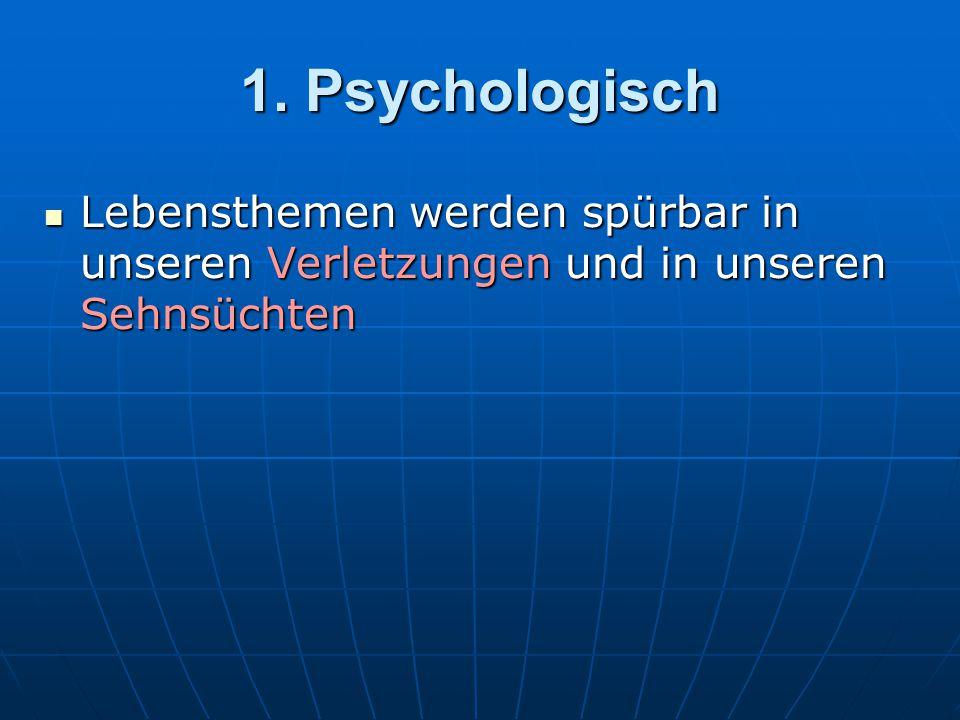 1. Psychologisch Lebensthemen werden spürbar in unseren Verletzungen und in unseren Sehnsüchten