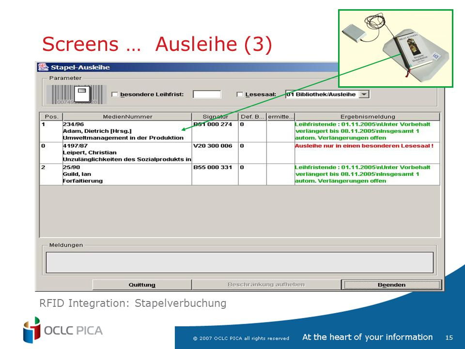 Screens … Ausleihe (3) RFID Integration: Stapelverbuchung