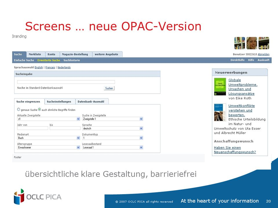 Screens … neue OPAC-Version