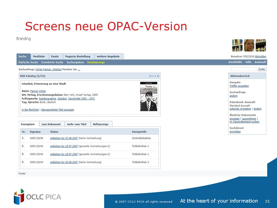 Screens neue OPAC-Version