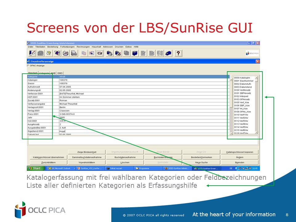 Screens von der LBS/SunRise GUI