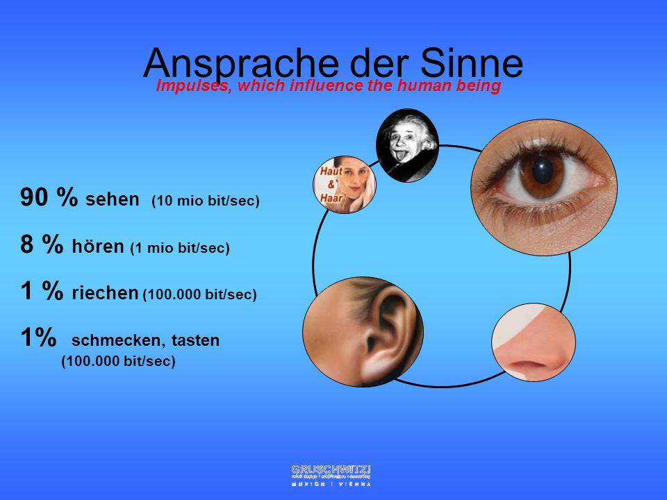 Ansprache der Sinne 90 % sehen (10 mio bit/sec)