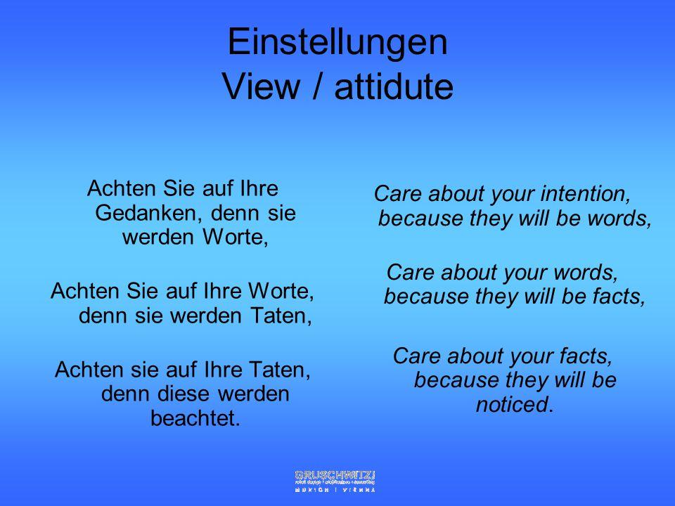 Einstellungen View / attidute
