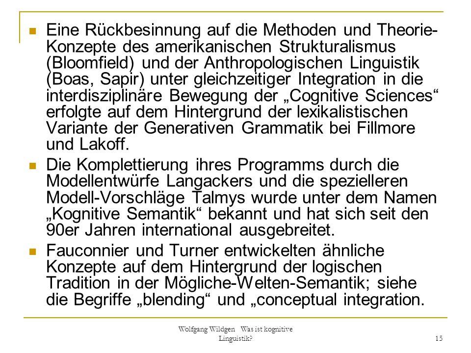 Wolfgang Wildgen Was ist kognitive Linguistik