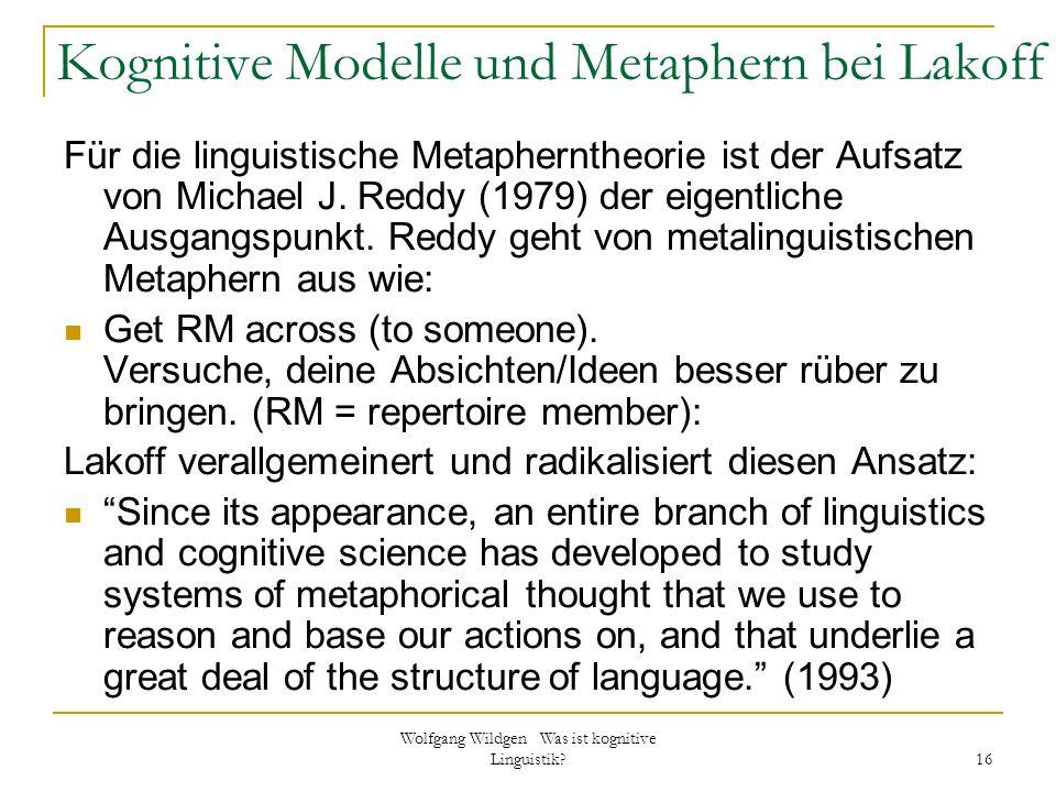 Kognitive Modelle und Metaphern bei Lakoff