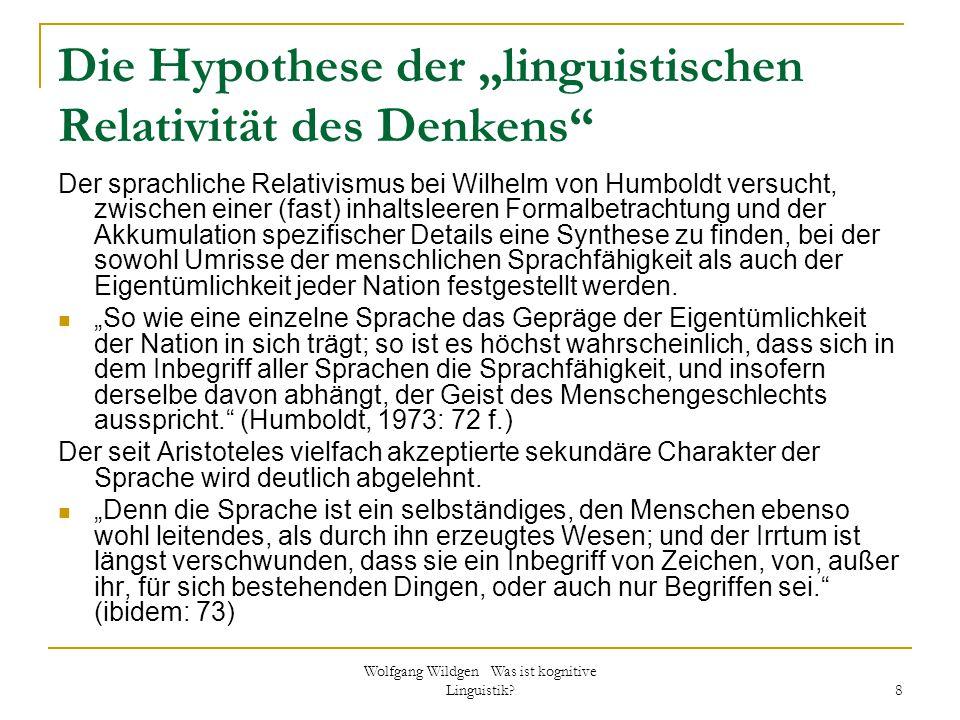"""Die Hypothese der """"linguistischen Relativität des Denkens"""