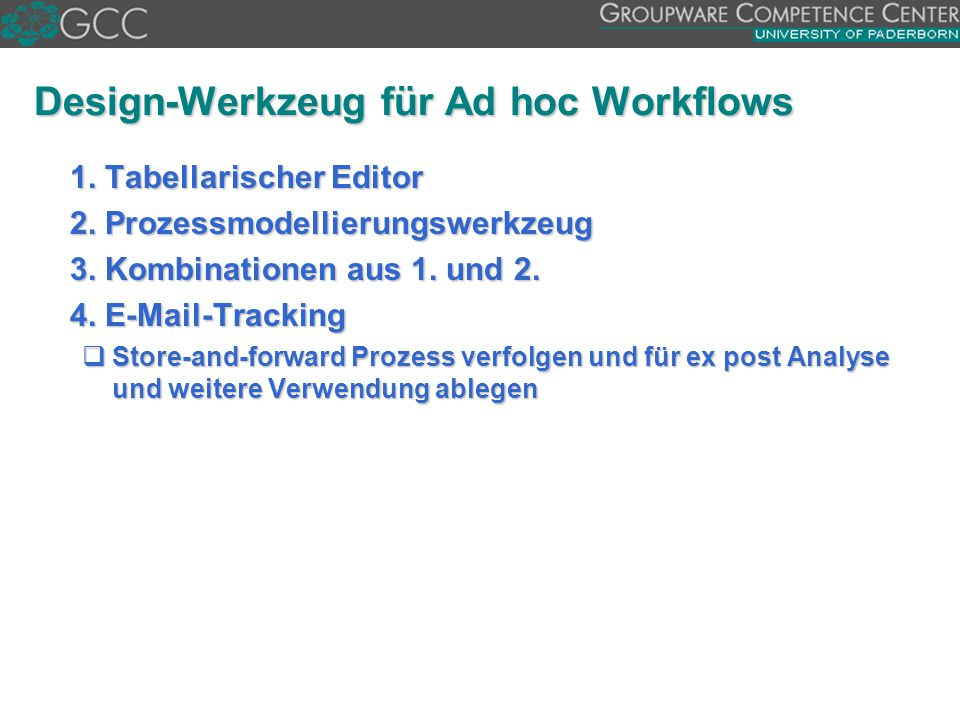 Design-Werkzeug für Ad hoc Workflows