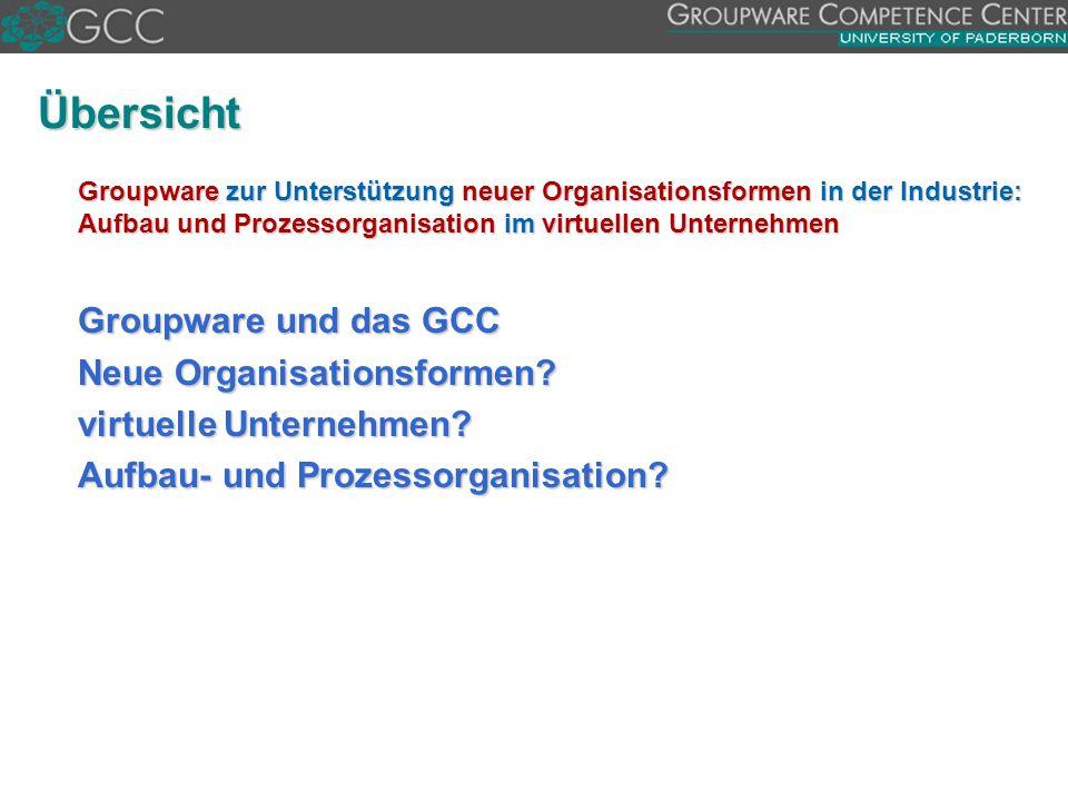 Übersicht Groupware und das GCC Neue Organisationsformen