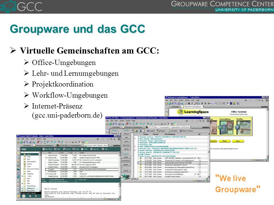 Groupware und das GCC Virtuelle Gemeinschaften am GCC: We live