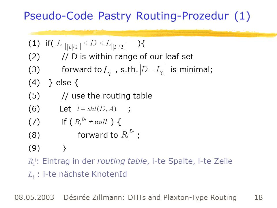 Pseudo-Code Pastry Routing-Prozedur (1)