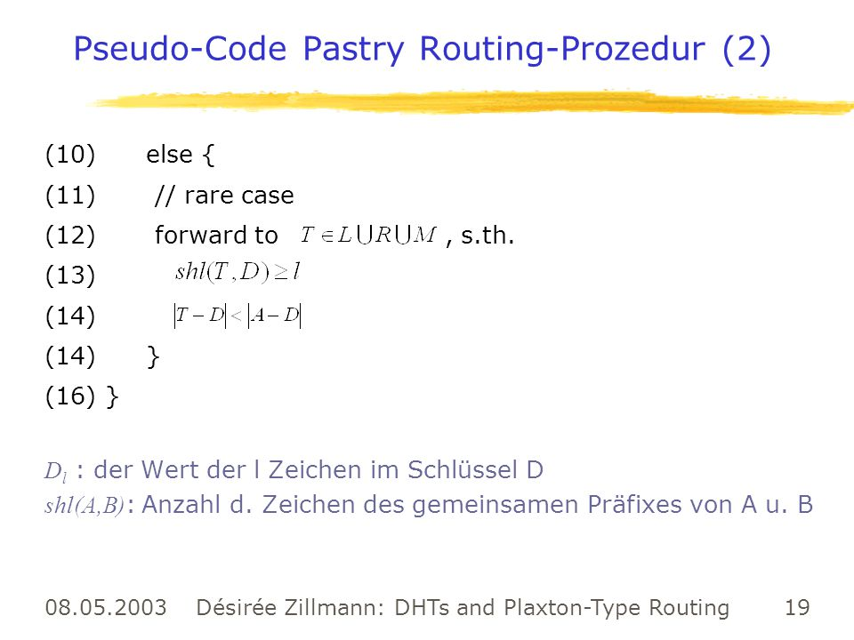 Pseudo-Code Pastry Routing-Prozedur (2)