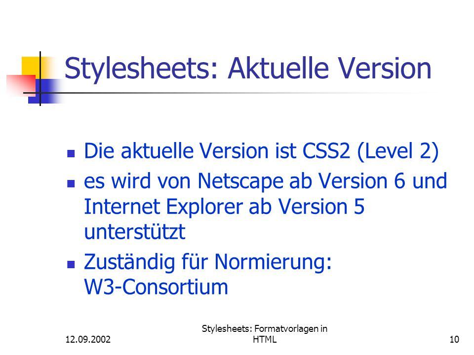 Stylesheets: Aktuelle Version
