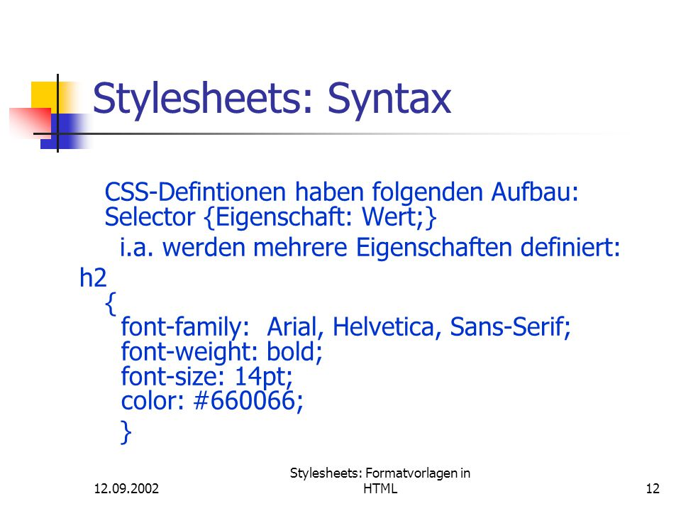 Stylesheets: Formatvorlagen in HTML