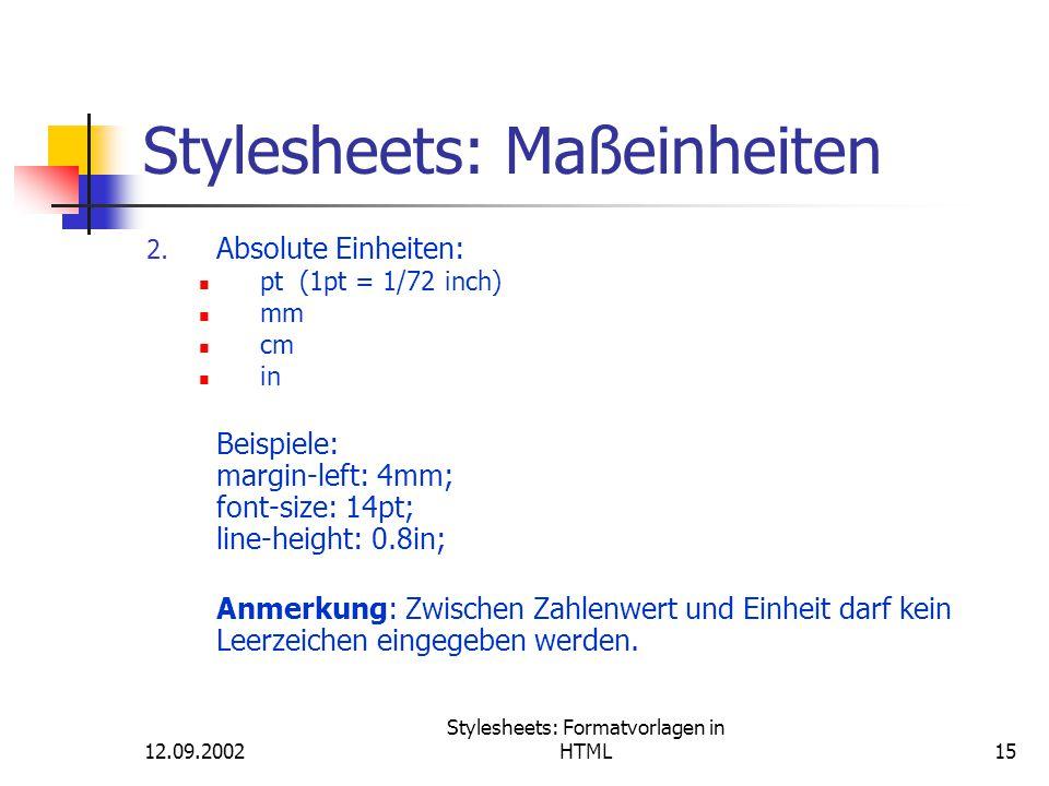 Stylesheets: Maßeinheiten
