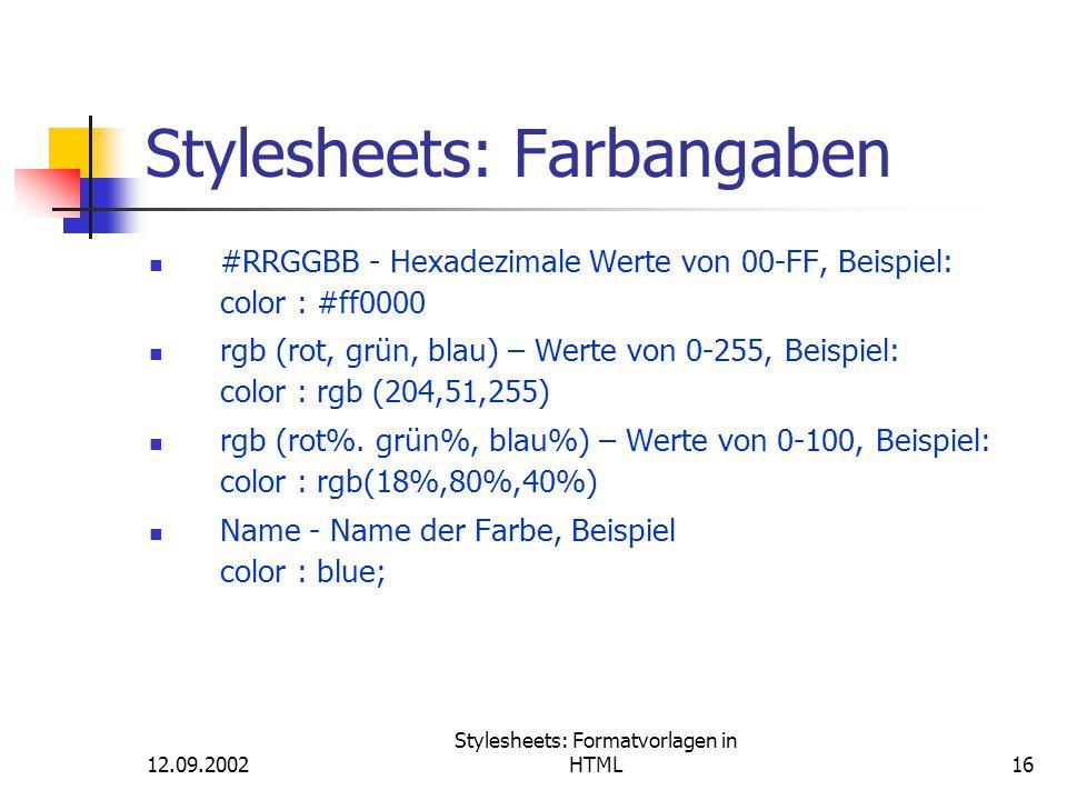 Stylesheets: Farbangaben