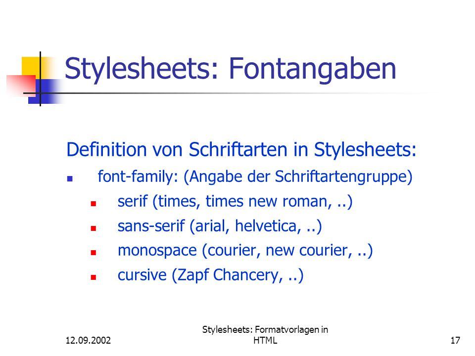 Stylesheets: Fontangaben