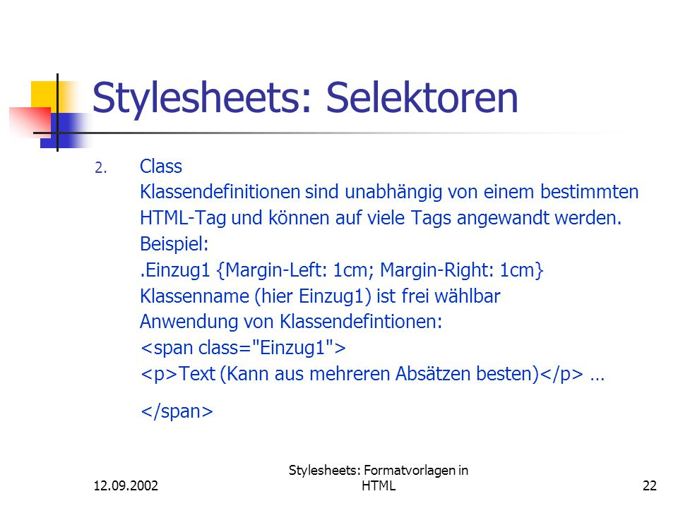 Stylesheets: Selektoren