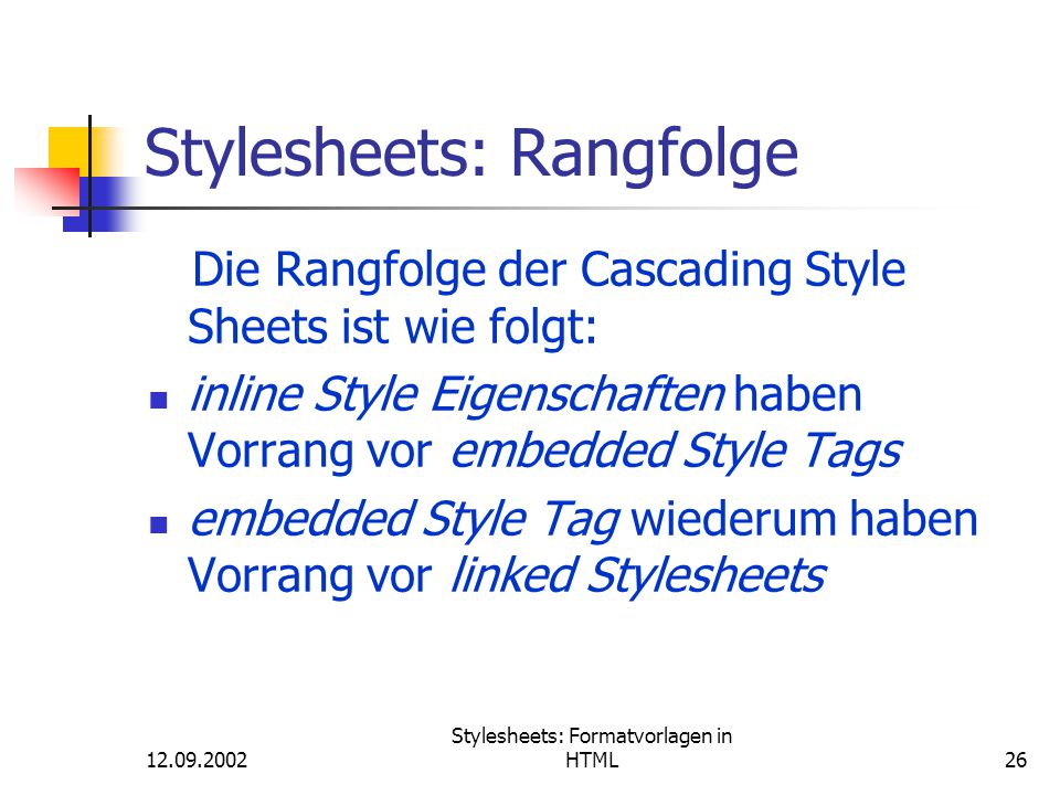 Stylesheets: Rangfolge