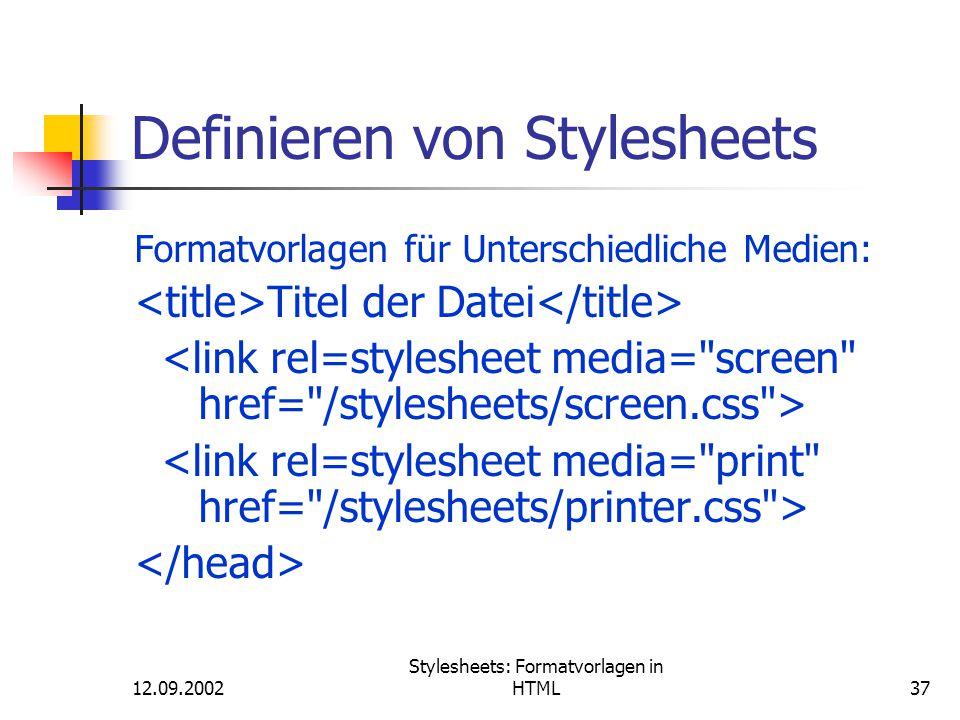 Definieren von Stylesheets