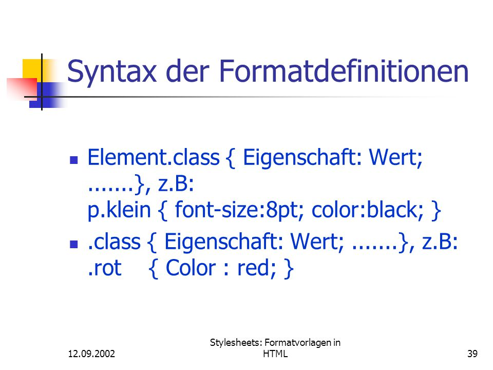 Syntax der Formatdefinitionen