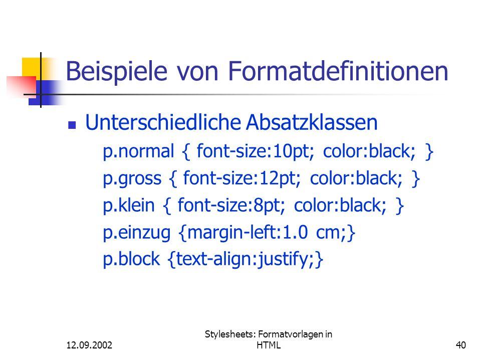 Beispiele von Formatdefinitionen