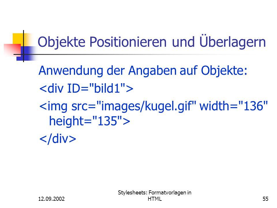 Objekte Positionieren und Überlagern