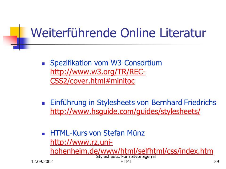 Weiterführende Online Literatur