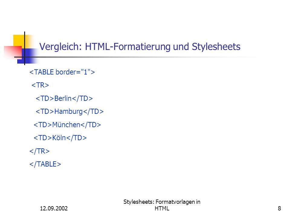 Vergleich: HTML-Formatierung und Stylesheets