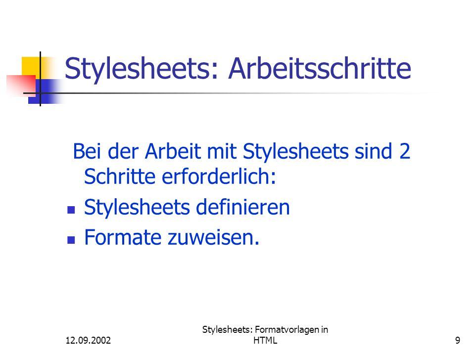 Stylesheets: Arbeitsschritte