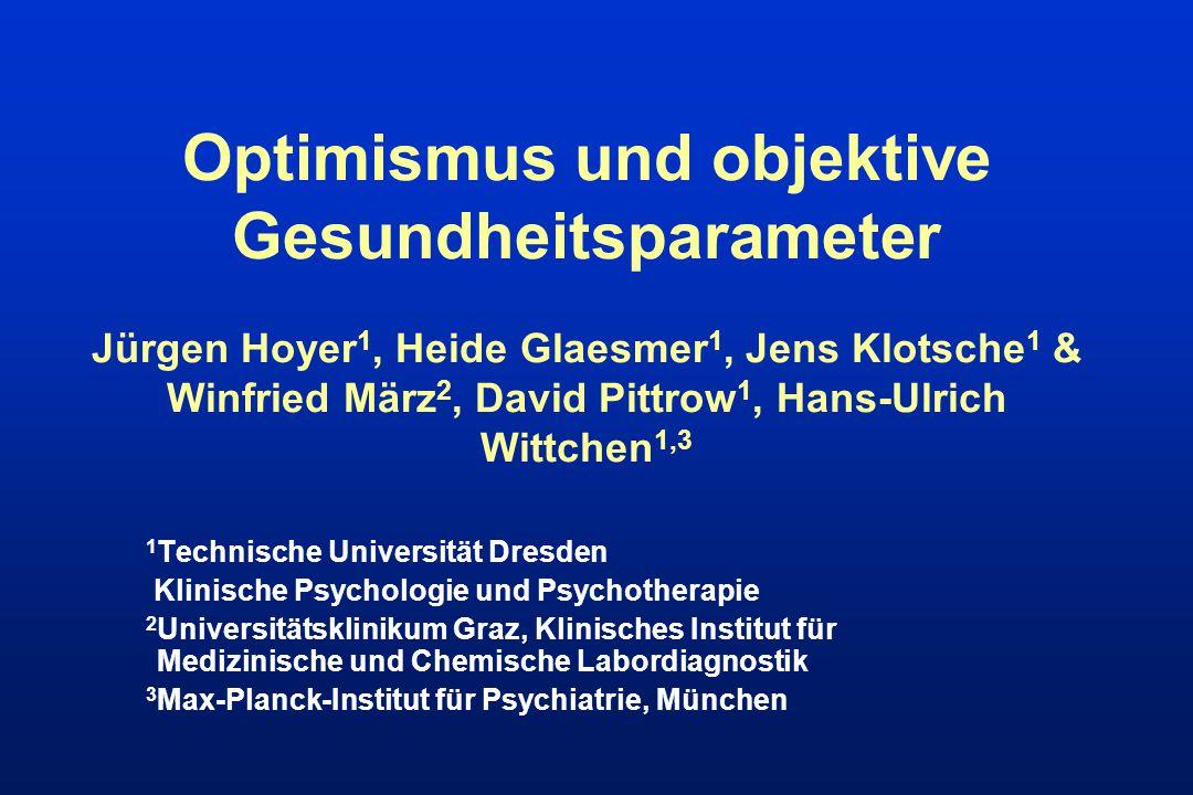 Optimismus und objektive Gesundheitsparameter Jürgen Hoyer1, Heide Glaesmer1, Jens Klotsche1 & Winfried März2, David Pittrow1, Hans-Ulrich Wittchen1,3