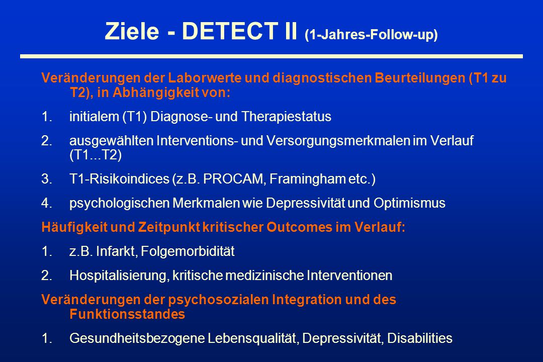 Ziele - DETECT II (1-Jahres-Follow-up)
