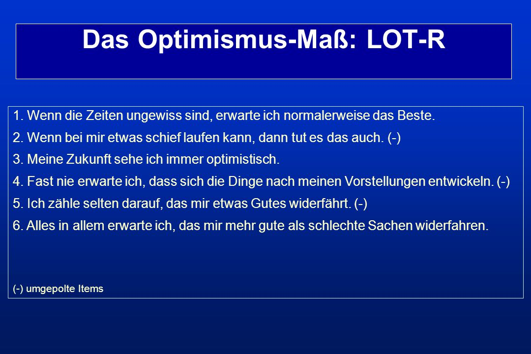 Das Optimismus-Maß: LOT-R