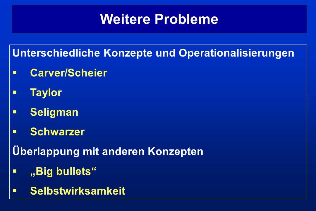 Weitere Probleme Unterschiedliche Konzepte und Operationalisierungen