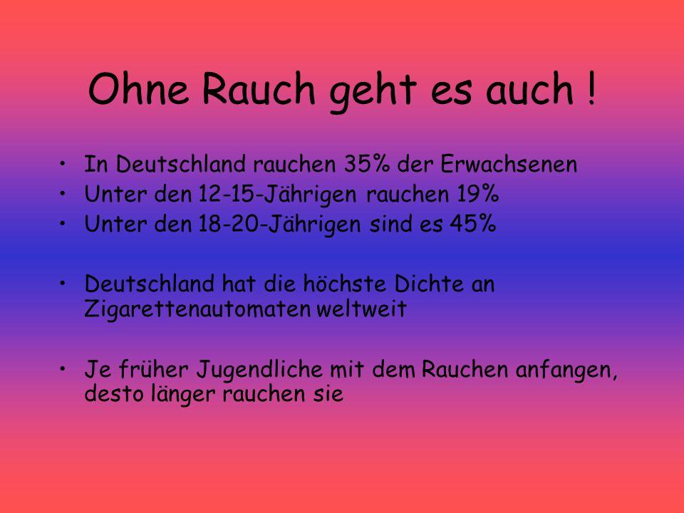 Ohne Rauch geht es auch ! In Deutschland rauchen 35% der Erwachsenen