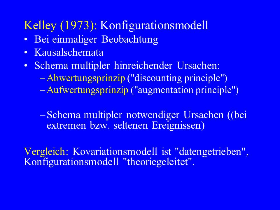 Kelley (1973): Konfigurationsmodell