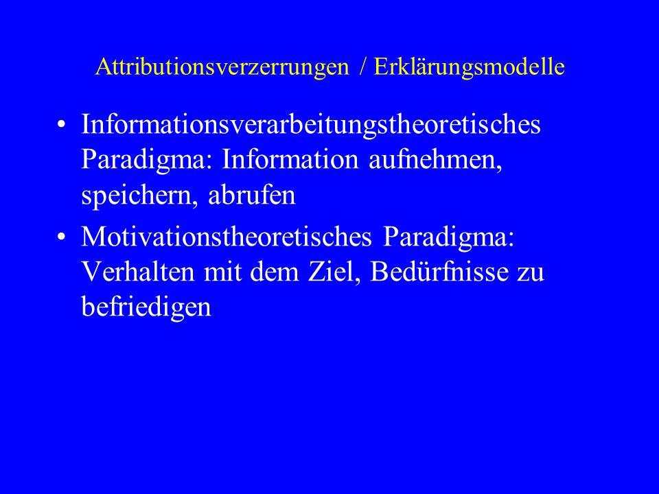 Attributionsverzerrungen / Erklärungsmodelle