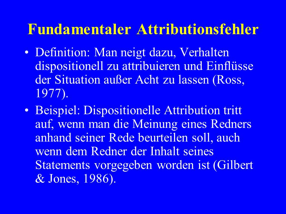 Fundamentaler Attributionsfehler