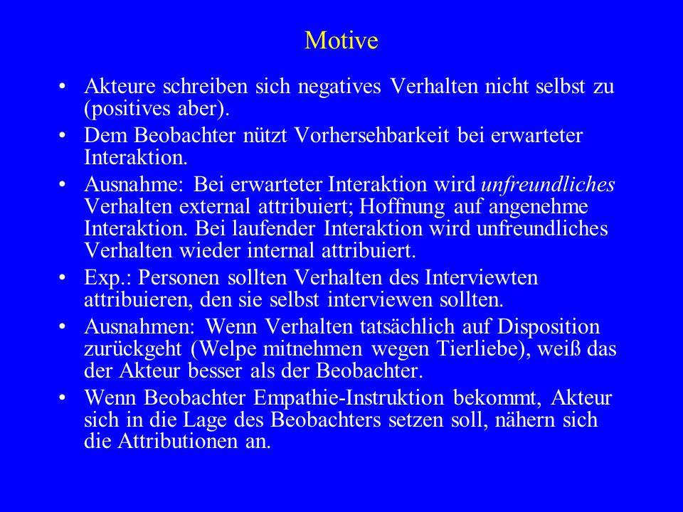 Motive Akteure schreiben sich negatives Verhalten nicht selbst zu (positives aber).