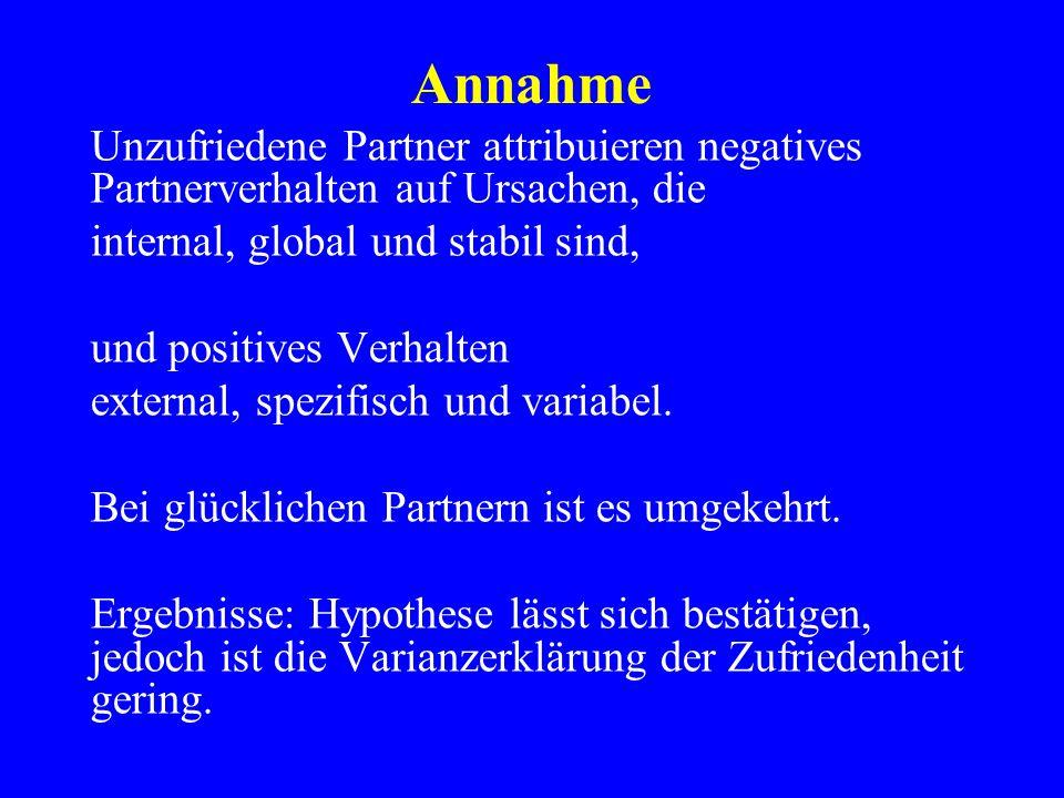 Annahme Unzufriedene Partner attribuieren negatives Partnerverhalten auf Ursachen, die. internal, global und stabil sind,