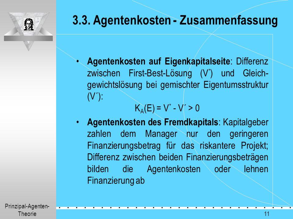 3.3. Agentenkosten - Zusammenfassung