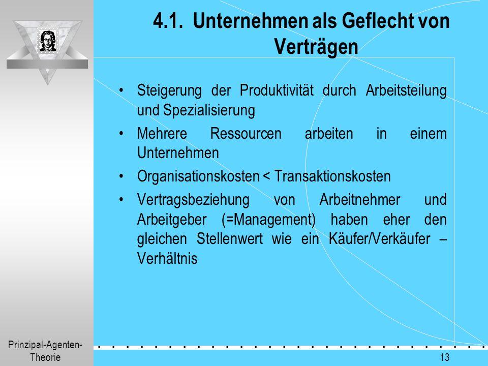 4.1. Unternehmen als Geflecht von Verträgen