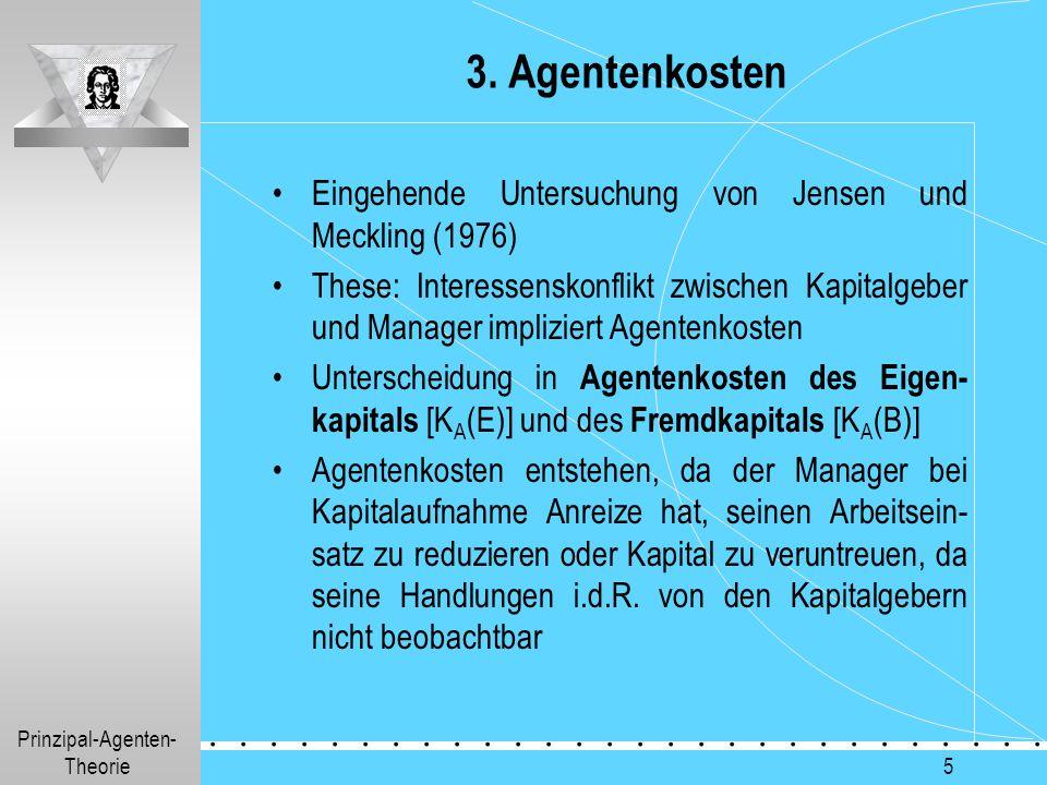3. Agentenkosten Eingehende Untersuchung von Jensen und Meckling (1976)
