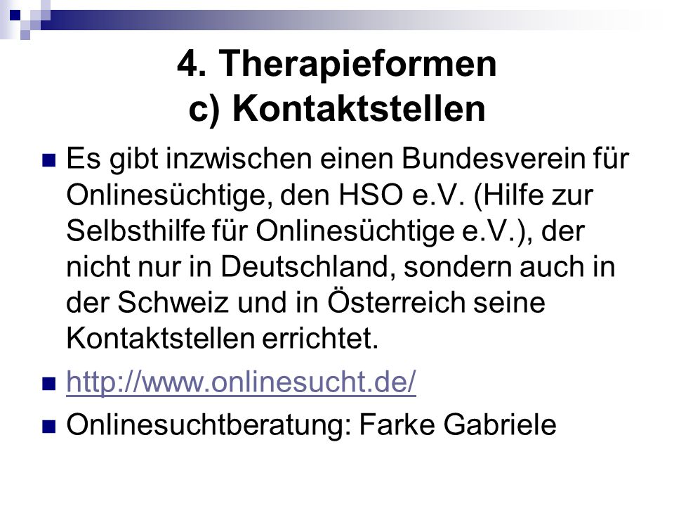 4. Therapieformen c) Kontaktstellen