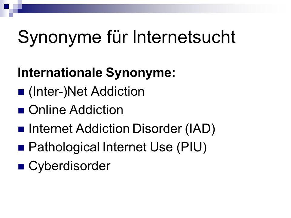 Synonyme für Internetsucht