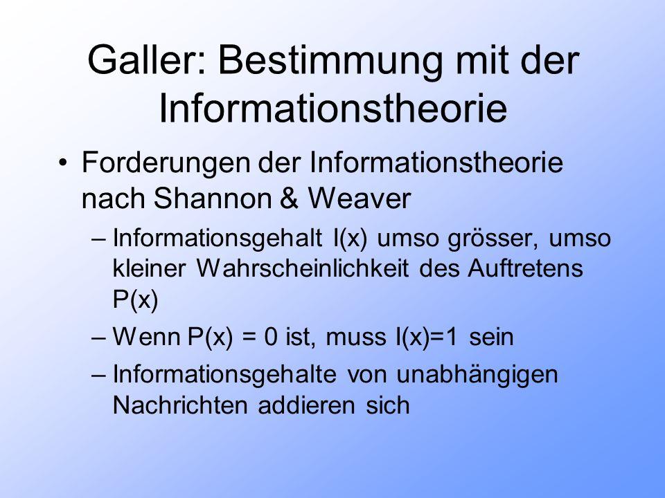 Galler: Bestimmung mit der Informationstheorie