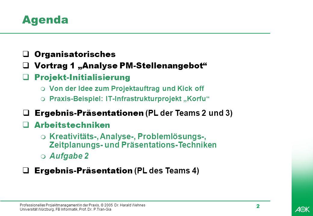 """Agenda Organisatorisches Vortrag 1 """"Analyse PM-Stellenangebot"""