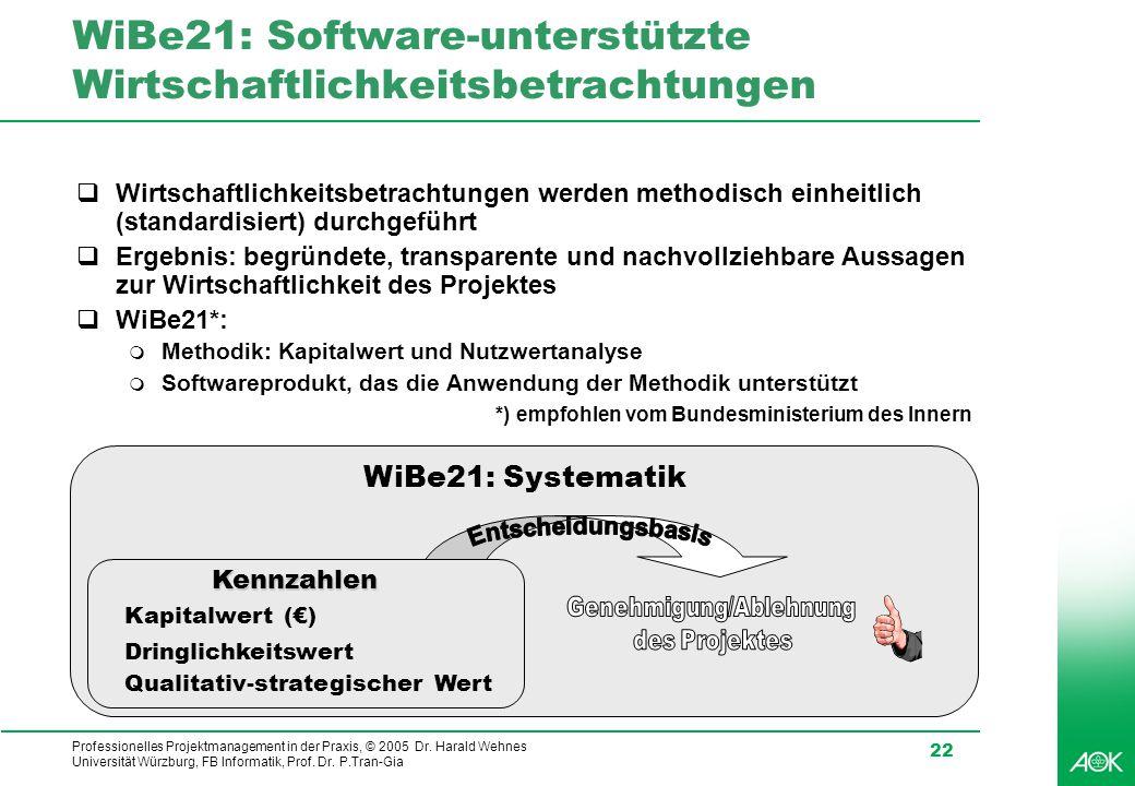 WiBe21: Software-unterstützte Wirtschaftlichkeitsbetrachtungen