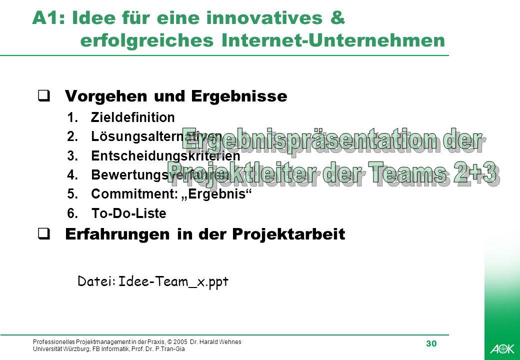 A1: Idee für eine innovatives & erfolgreiches Internet-Unternehmen