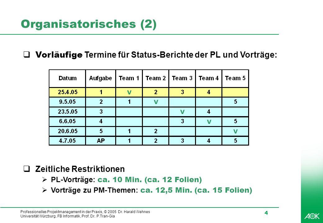 Organisatorisches (2) Vorläufige Termine für Status-Berichte der PL und Vorträge: Zeitliche Restriktionen.