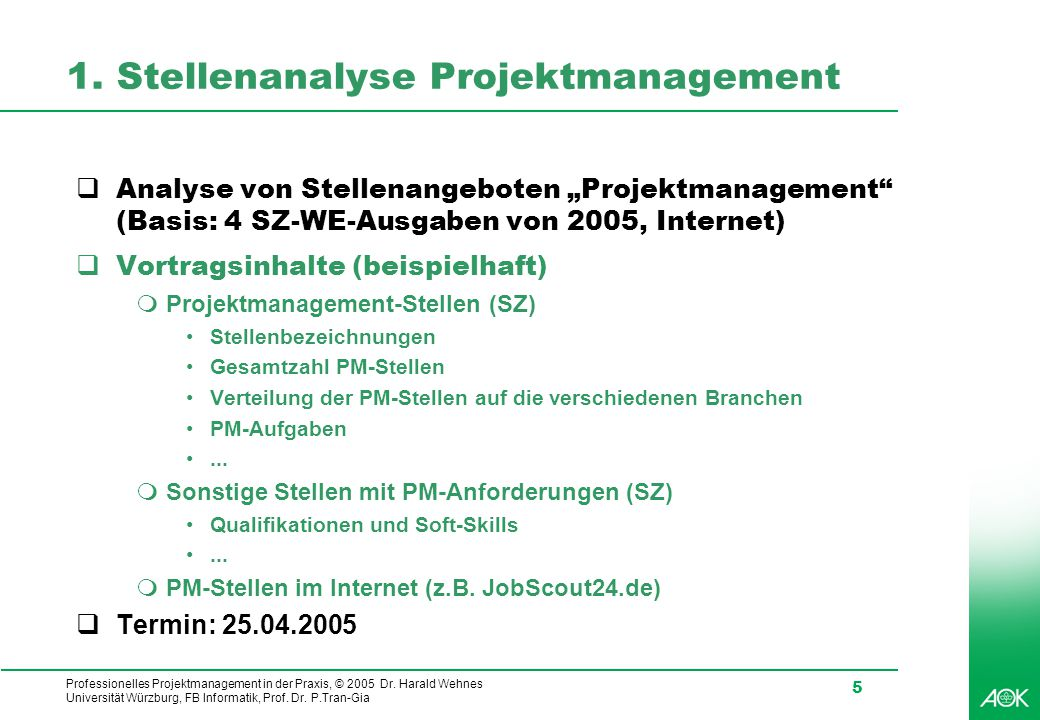 1. Stellenanalyse Projektmanagement